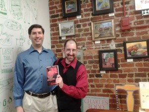 JP Cane with Bill Blume at his book launch of Tales of a 10th Grade Vampire Hunter