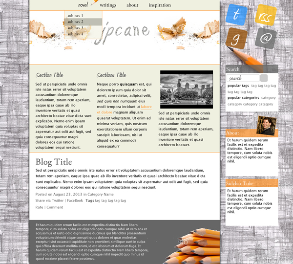 Mockup of the design for the website.