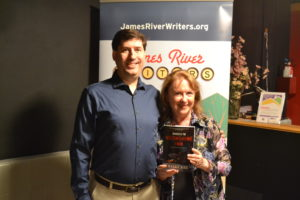 JP Cane and Maggie King with her novel Murder at the Moonshine Inn